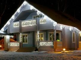 """Гирлянда уличная """"Бахрома"""" 3 х 0.9 м , IP44, УМС, белая нить, 232 LED, свечение тепло-белое, 220 В"""