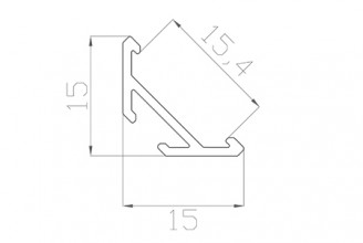 Профиль угловой  LC-LSU-1515-2 ANOD