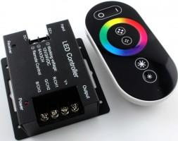 Контроллер 12V 288W(24V 576W) 24A RGB с кольцевым сенсорным черным радиопультом
