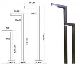 Осветительный комплекс NR h-4000мм вынос 600мм профиль100*100*3мм черный (модуль 50Вт, 4000К, 6500Лм)